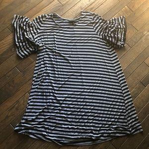 Lane Brant Ruffle-Sleeve Knit Swing Dress